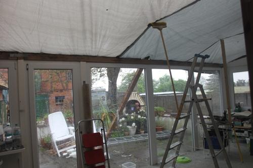 das Gewitter stoppt die Arbeiten