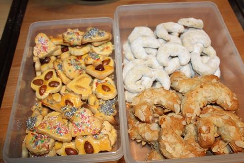 Zuckerplätzchen, Vanillekipferl, Mandelhörnchen